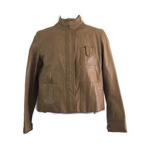 Armani Exchange Tan Genuine Leather Jacket Med